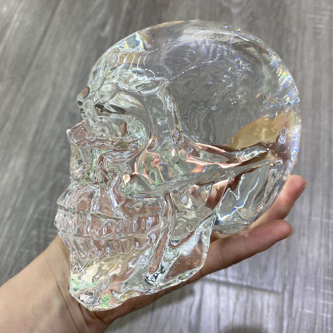 High quality hand carved gemstones folk crafts healing life size K9 clear crystal skulls for decoration