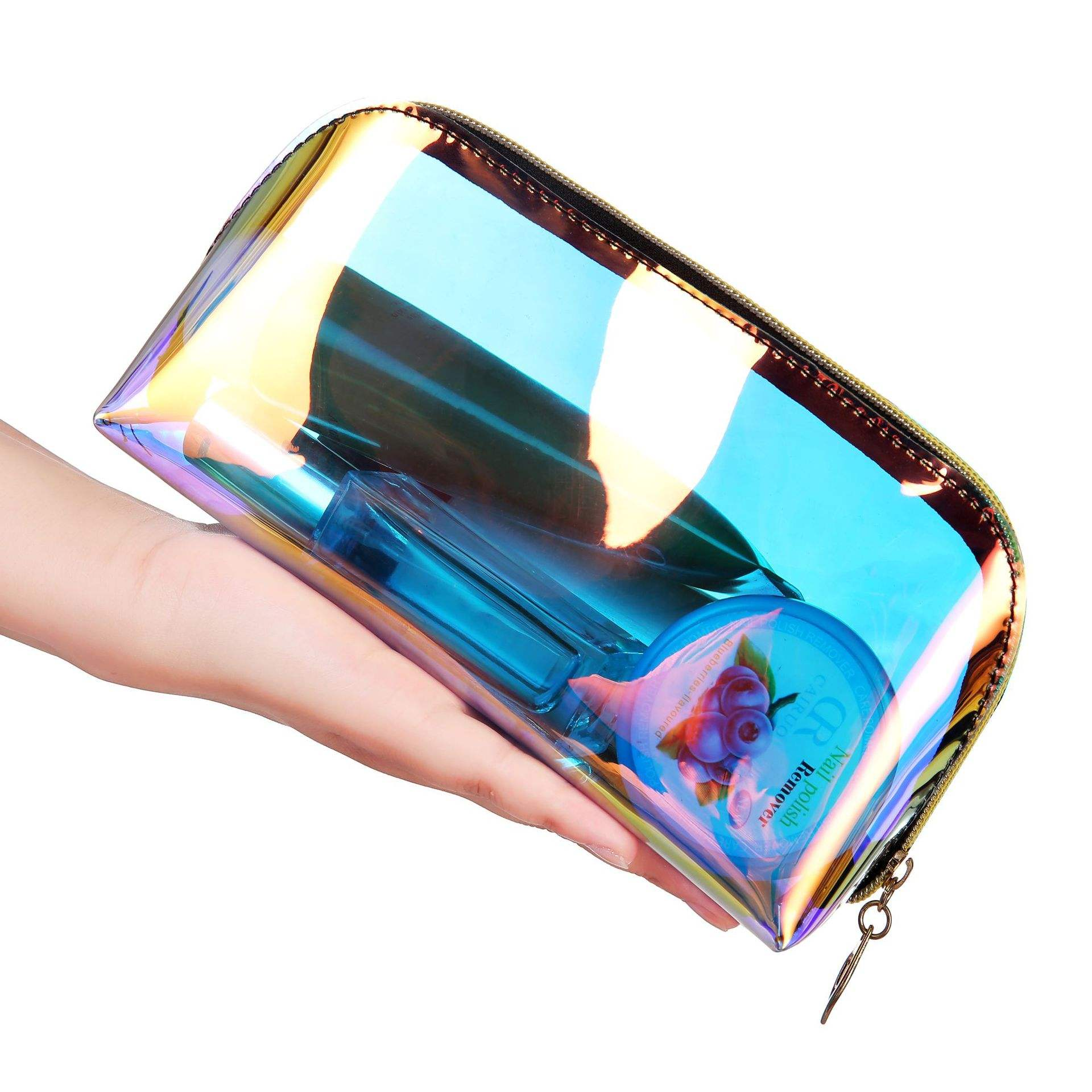 Custom Transparent TPU Travel Makeup Storage Bag Waterproof Laser Clear Holographic Cosmetic Bag