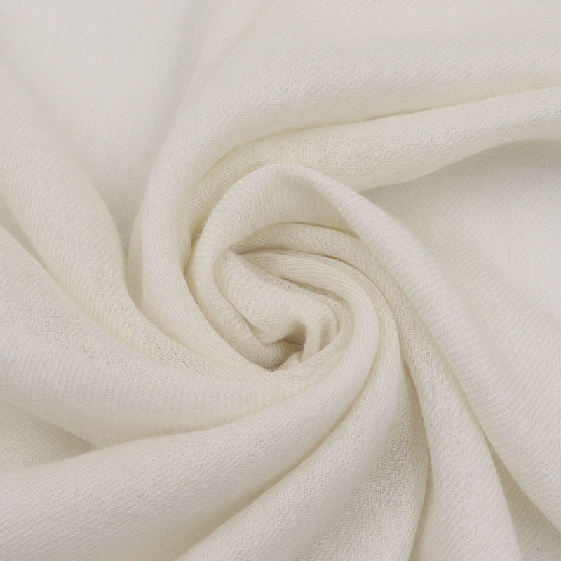 High Quality 200S White Soft Mongolia Cashmere Fabric Custom Dyeing 100% Cashmere Fabric For Scarves