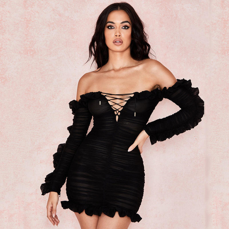 Sexy Mesh Vrouwen Lace Up Off Shoulder Mini Jurken Ruffle Backless Bodycon Jurken Clubwear Y12451