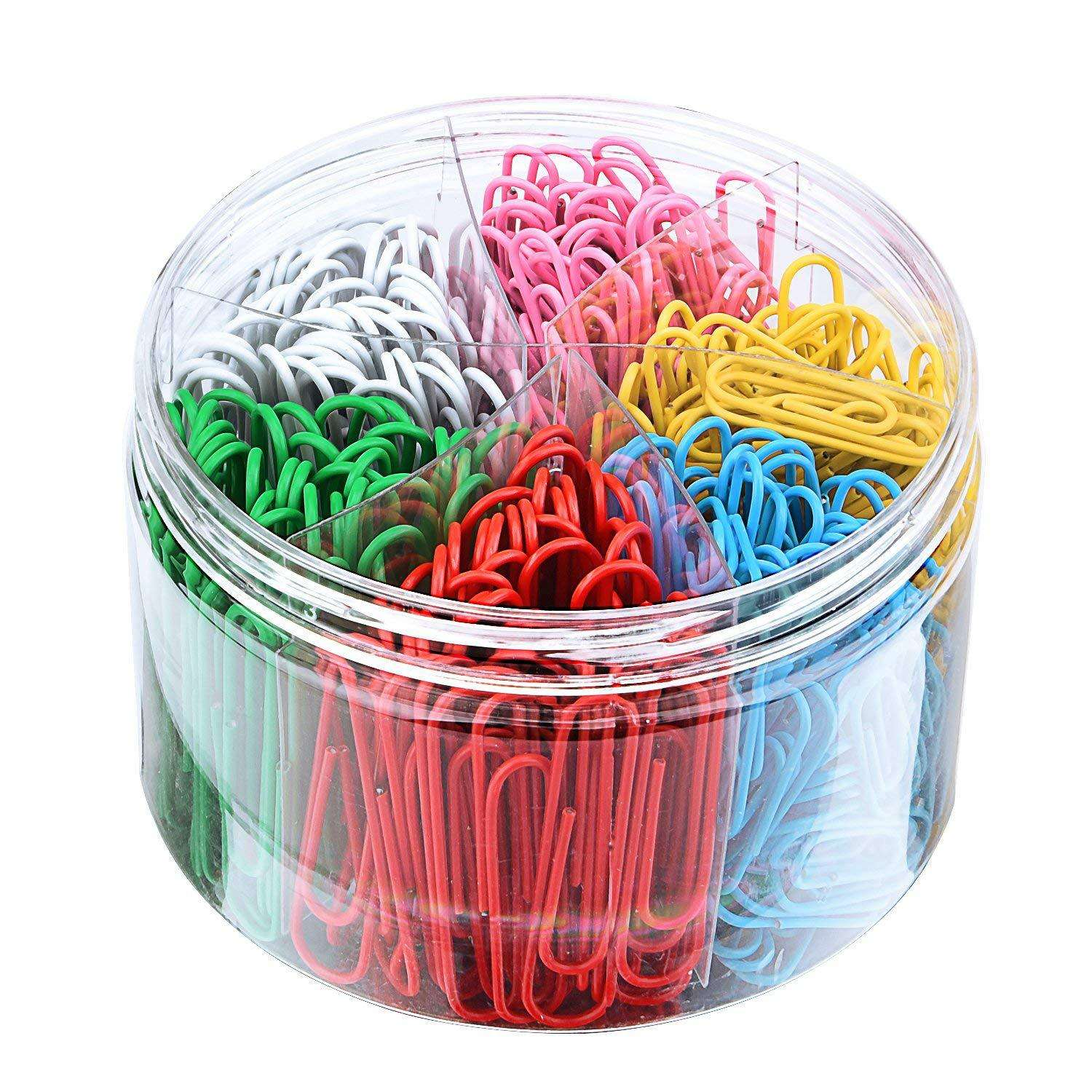 Cross-border exclusively for plastic-coated colored paper clips, multi-specification mixed metal silver paper clips