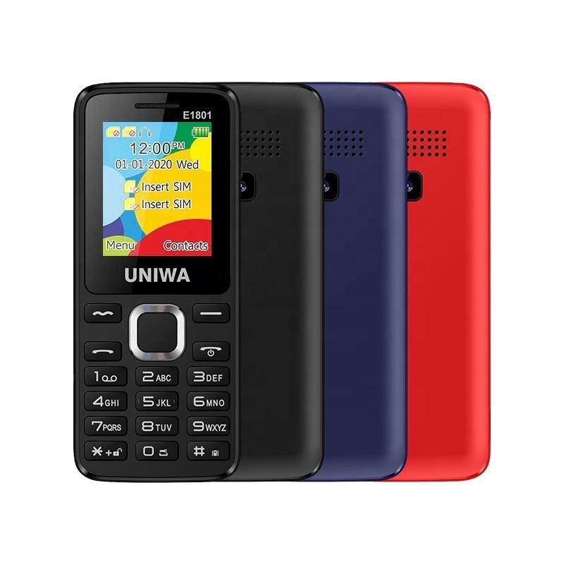 Good UNIWA E1801 Dual SIM Card 1.8 Inch Screen Quad Band 800 mAh Battery Low Price GSM Basic Cell Phone Senior Mobile Phone