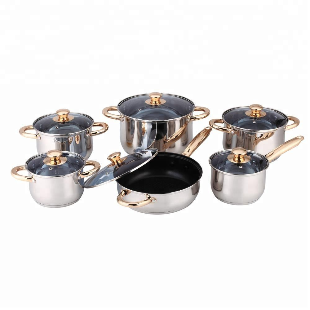 Marble coating non-stick stainless steel cooking pots with golden handle