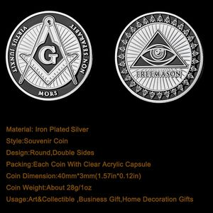 Medal coin Accepted Masons Silver Plated 1 oz Masonic Symbols Bullion Coin Collections
