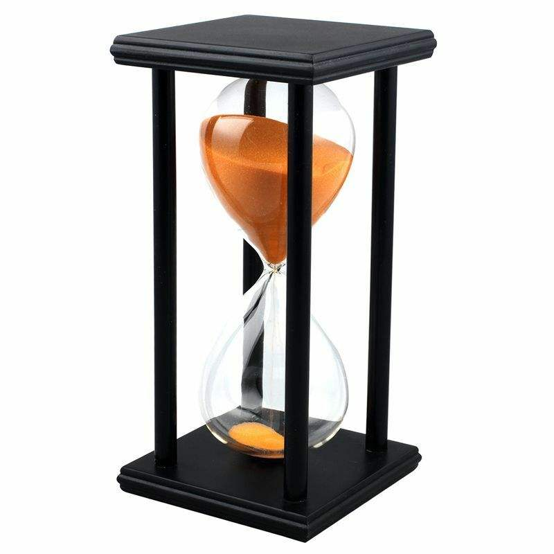 Best Quality 60Min Wooden Sand Sandglass Hourglass Timer Clock Decor Black Frame Orange