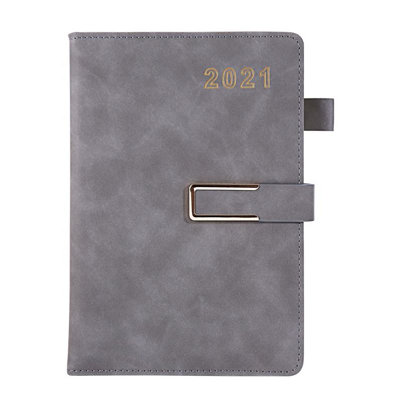 2021 fashion luxury promotion gift papeleria lay flat custom diary printing 2021 planner hardcover good paper leather notebook