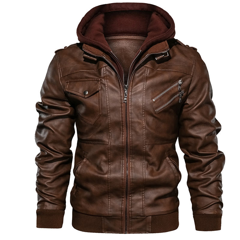 Wholesale Fashion Men Racer Motorcycle PU Leather Jackets jaqueta de couro masculino Hooded Coat Black Brown Leather Jacket