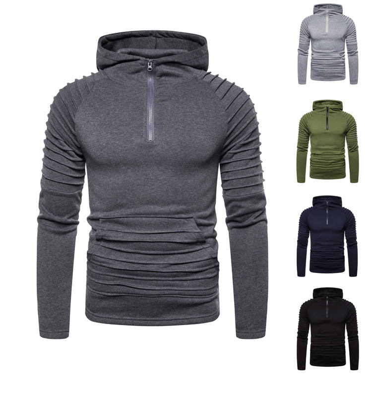 2019 Latest Fashion Pleated Zipper Cotton Men's OEM Blank Customizable Hooded Sports plain blank Athletic Pullover Hoodie