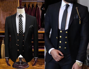 Morili one button Wedding Party Suits For Man Closure collar 3 Pieces suit Slim Fit MMSB52