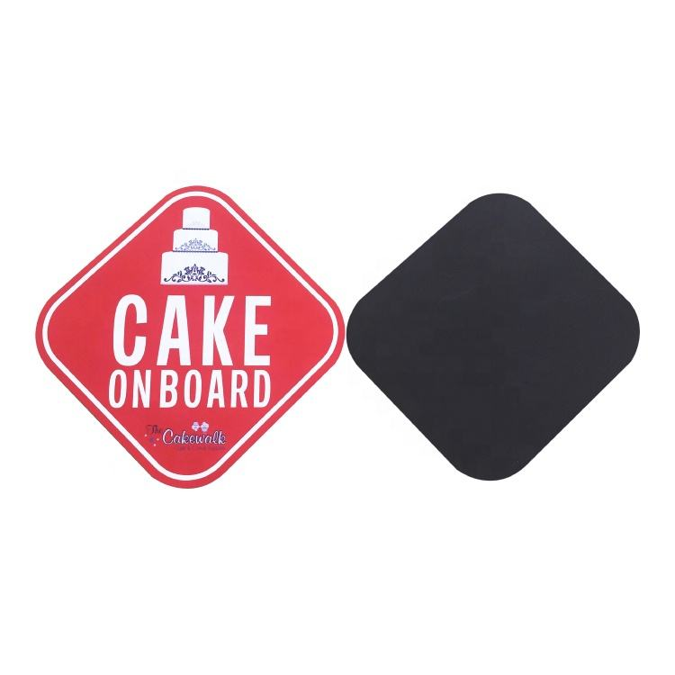 Christmas Red Square Car Cake On Board Car Magnet Bumper Stickers Promotional Gifts Use Magnetic Fridge Magnet Stickers MMS-008
