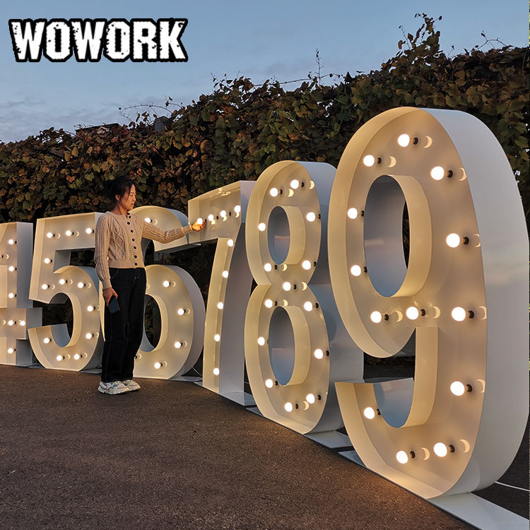WOWORK hot sale customized OEM large light up love letter light waterproof event party supplier wedding decoration