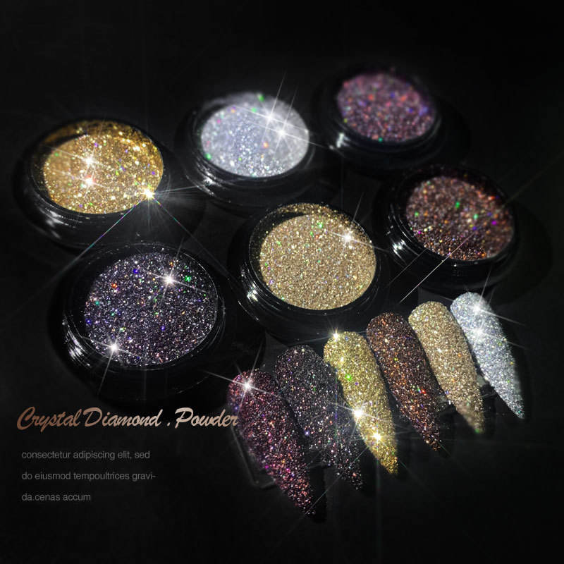 6 colors exquisite nail polish glitter powder party sparkle crystal diamond powder