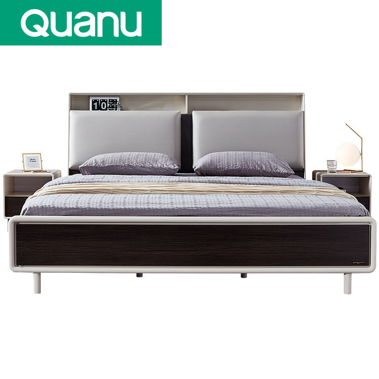 Hot Sale Factory Price Box Bed Wood Nordic Genuine Leather Luxury Modern bed with storage