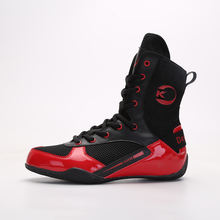 Wholesale professional high top sport boots black boxing shoes for men