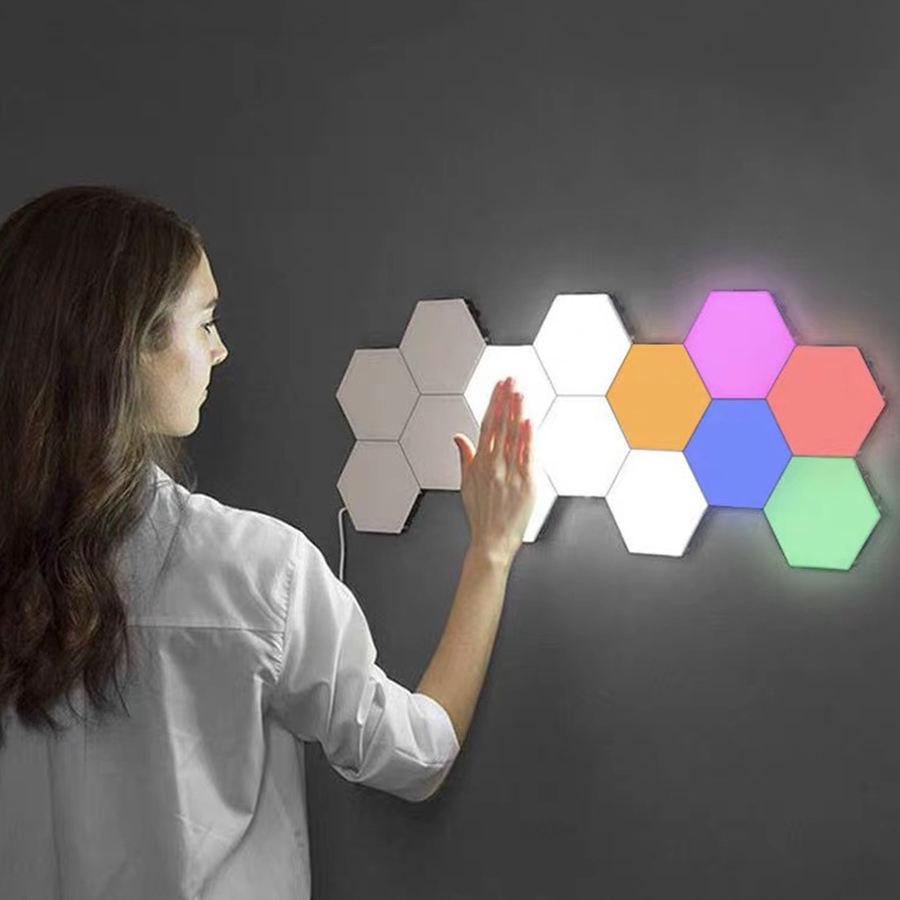 6PCS Quantum Honeycomb Colorful Version Hexagonal Modular Touch Sensitive Lighting Wall Lamp LED Night Light