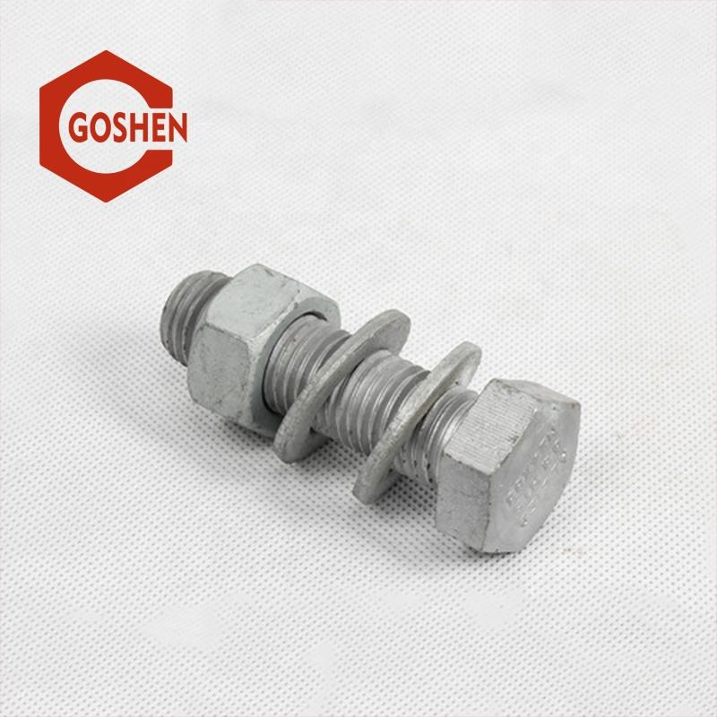 Grade8.8 hot dip galvanized heavy m38 hex bolt and nut