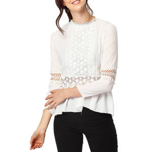 Cheap custom chiffon lace floral long sleeve ladies blouses