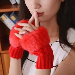Winter cute girl gloves knitting warm half finger gloves woo
