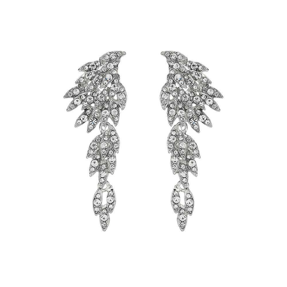 Hot Fashion Angel Wings Crystal <span class=keywords><strong>Oorbellen</strong></span> Bruid Bruiloft Lange <span class=keywords><strong>Oorbellen</strong></span>