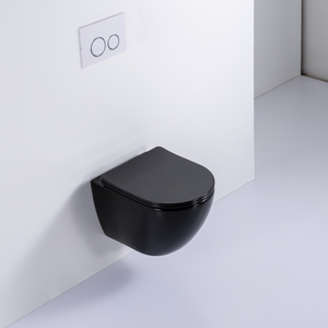 Chinese luxury modern ceramic round rimless wall toilet black