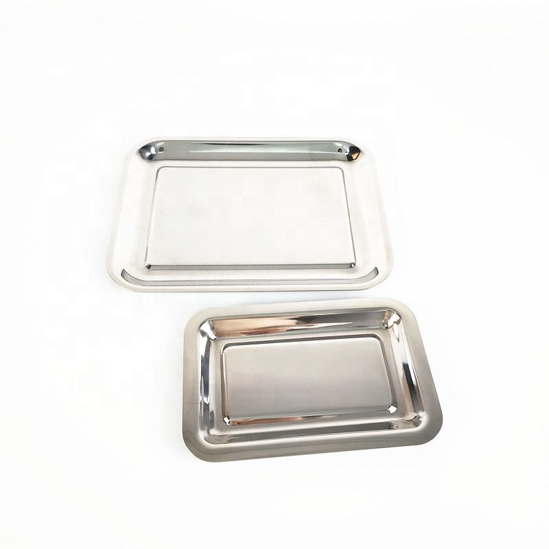 Rectangular stainless steel plated silver metal buffet bbq serving tray