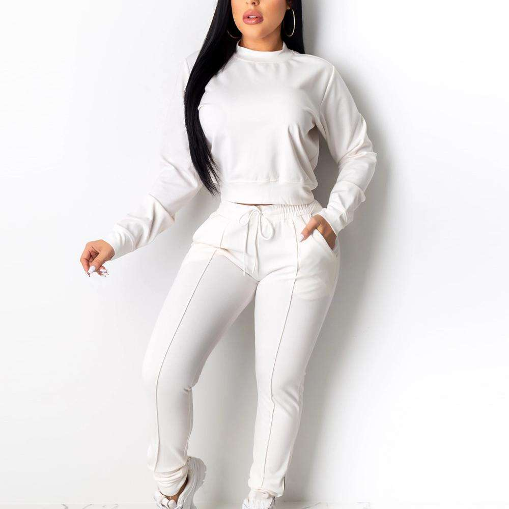 Hotsales Custom Women's Running Sports Set O-Neck Tracksuit Sweatpants Runner Suits 2 Pcs Women's Sportswear Crewneck Track Suit