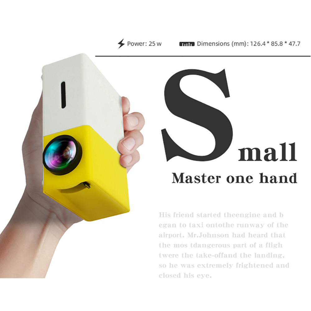 Portable Android Home theater Mini pocket Projector Yellow Black color