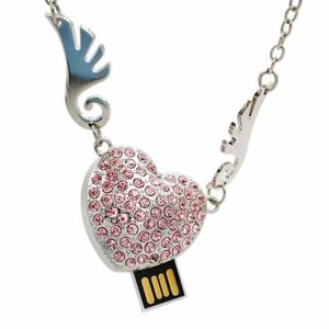 Wedding gift angel wings heart shape jewelry crystal 8GB 16GB USB Flash Drive necklace