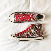 2019 Fashion High Top Sneakers Graffiti Canvas Shoes Men Casual Shoes flat Basket Lace Up Trainers