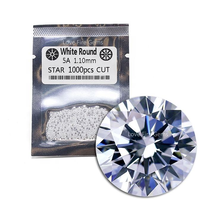 machine cut 1.1mm AAAAA loose cz stones round star cut cz gems white cubic zirconia for jewelry making