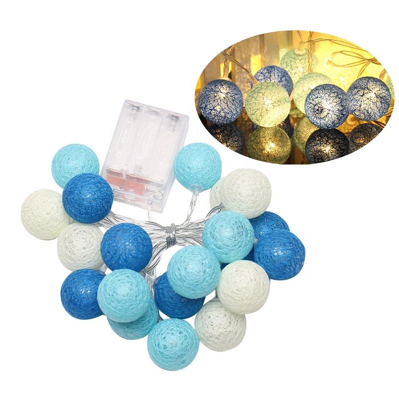 China Supplier Party Christmas Decoration 20 LED Color Cotton Ball String Light