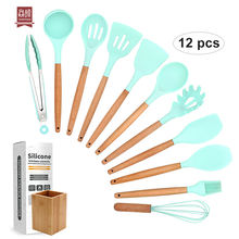 Amazon Hot Seller Natural Wood Cooking Tool Silicone Kitchen Utensil Set