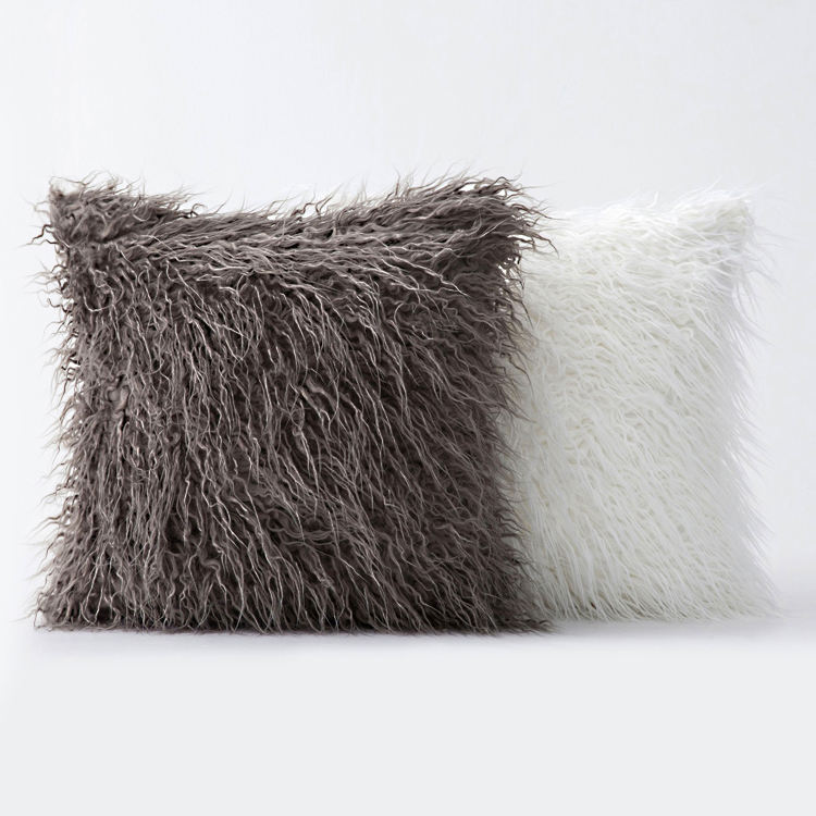 Custom solid colour plush faux fur pillow luxury mongolian fur pillow grey fur pillow for sofa