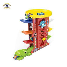 Seven Levels Plastic Slot Ramp Car Race Sliding Track Car Toys Set With Seven Plastic Cars