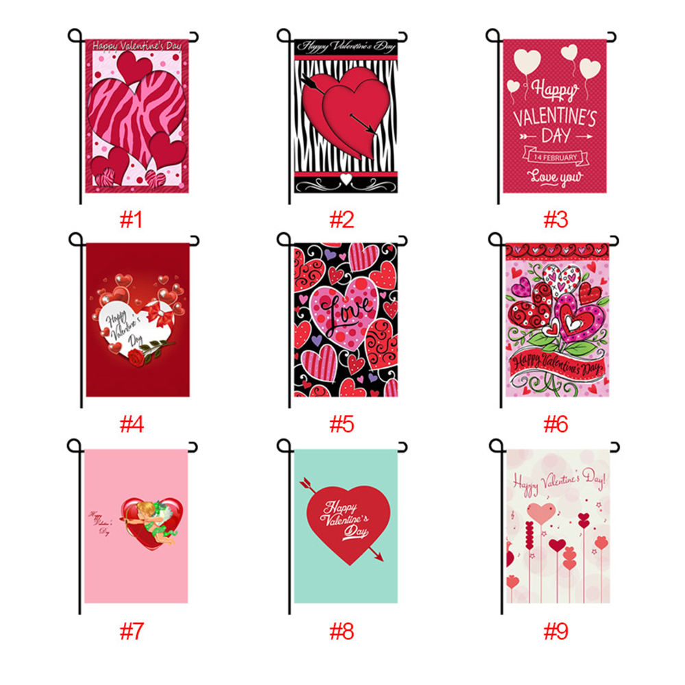 Wholesale 12x18 Inch Double Sided Polyester Valentines Day Gifts 2021 Yard Flags Decoration Party Supplies Garden Flag