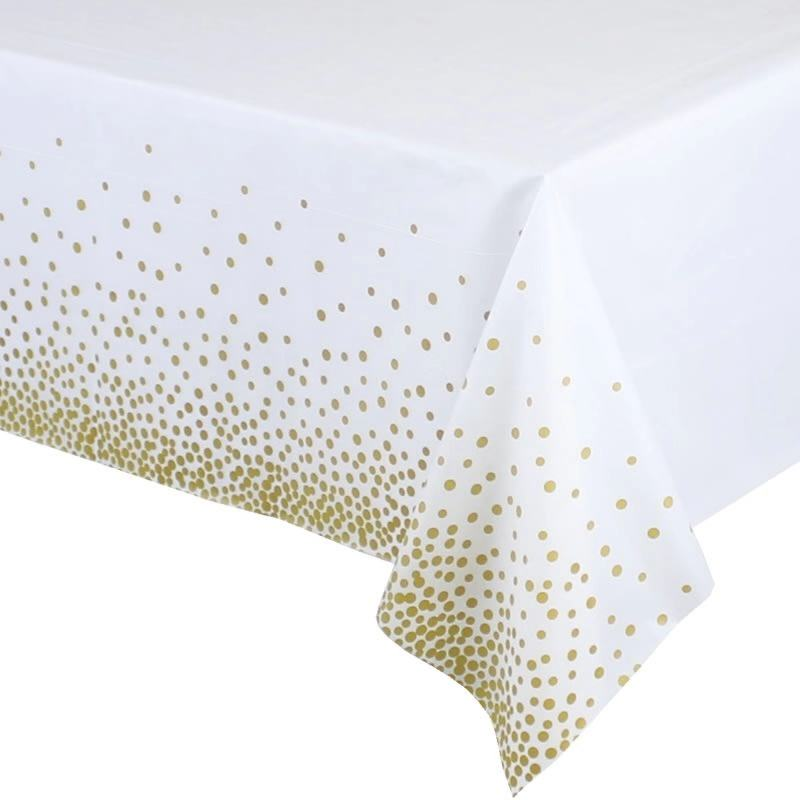 Gold Confetti Tablecloths Disposable White 8ft Rectangle Table Covers Glitter Plastic Tablecloth For Party Birthdays