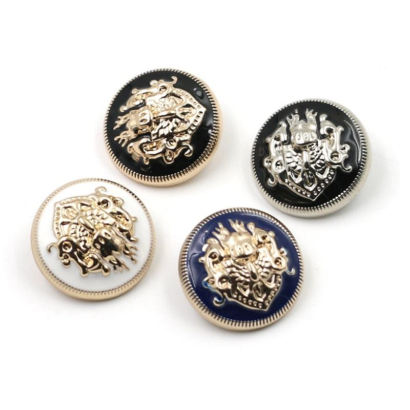 Custom design gold embossed metal ewing accessory garment army uniform blazer suit coat shank button