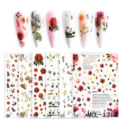 New design 6 colors Colorful flower nail art Adhesive handmade 3d flowers for nail art decoration