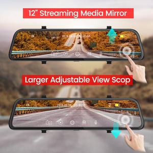 Dual Lens 12 Inch Touch IPS Dashcam Car DVR Camera Video Recorder With Rear View Mirror