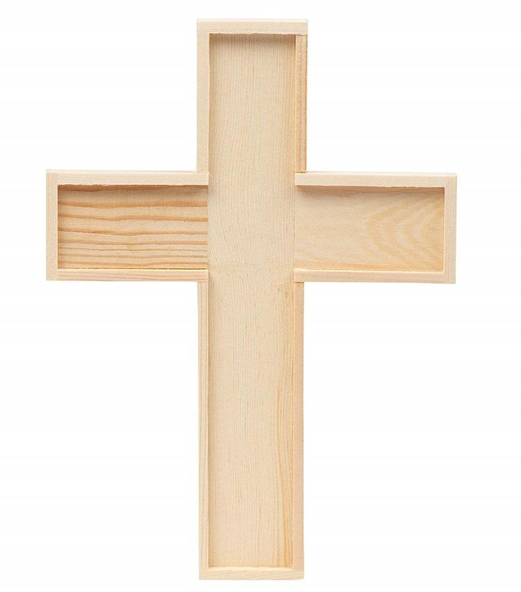 Wooden Cross Box for decoration and storage on wedding
