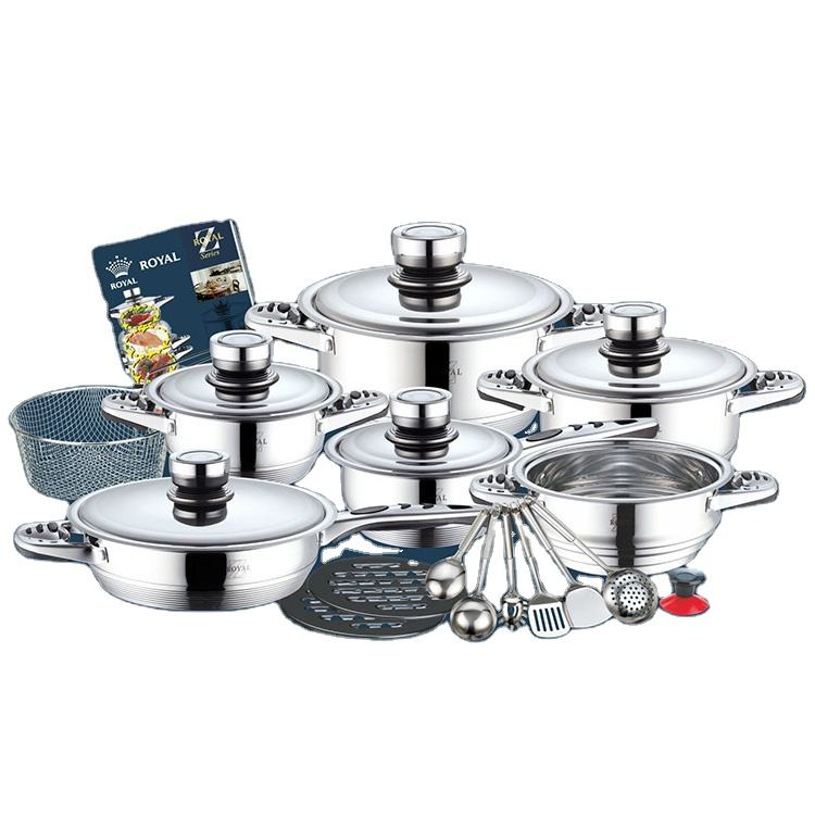 23 pieces cookware stainless with steel lid