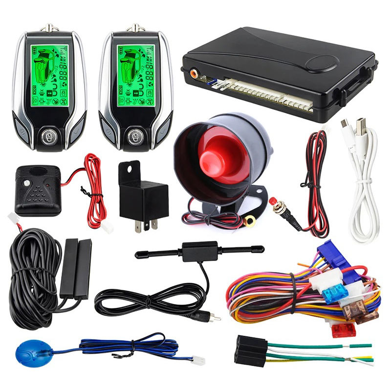 two way car alarm digital LCD display remote stop start push button lcd remote anti-thef
