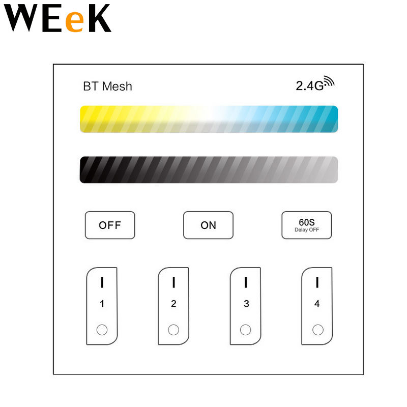 Bt Led Controller 2.4G Rf Wireless Touch Screen <span class=keywords><strong>Dimbare</strong></span> Voor Strip Light Led Lamp Downlight Bt Schakelaar