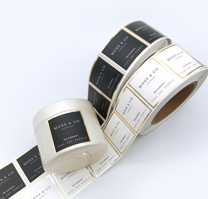Custom Waterproof Private Candles Label, Matte Gold Foil Sticker Label Printing For Candle Jars