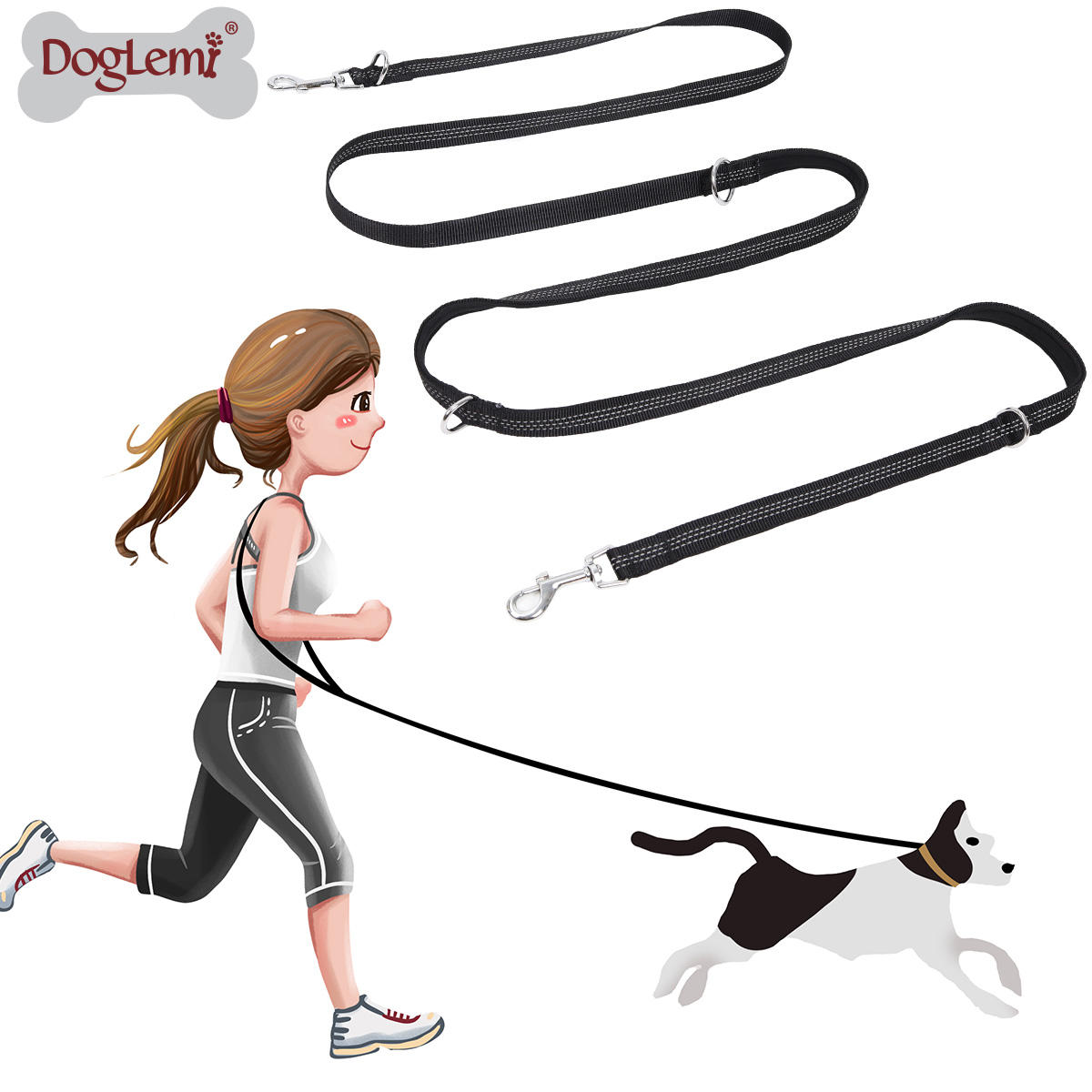 Multifunctional Dog Training Leash 3 meters Nylon Double Leash Hands free Pet Lead with Padded Handles