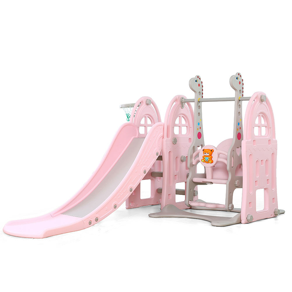 Castle Theme kid slide Indoor mini playground with swing set