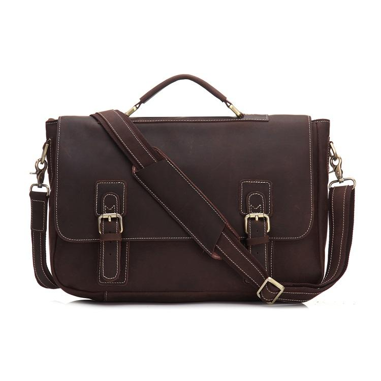 Factory crazy horse leather vintage men bag leather briefcase single-shoulder handbag