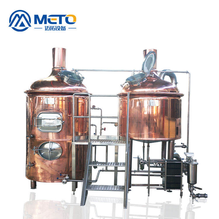 Customer made red copper 2 combined beer brewhouse in craft beer handmade brewing system for restaurant pub brewery equipment