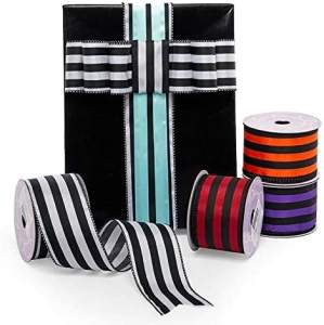 Custom fashional Black and white stripes ribbon
