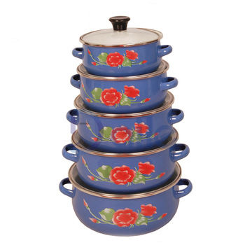 5pcs high quality enamelware set/enamel cooking pot/enamel casserole set